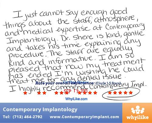 Contemporary Implant Review by Helen H. in Houston, TX