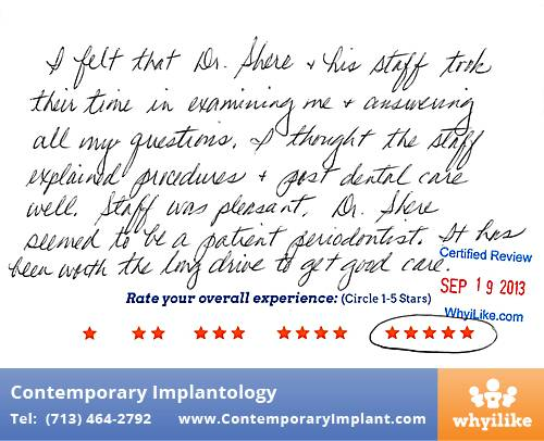 Contemporary Implant Review by Joyce B. in Houston, TX