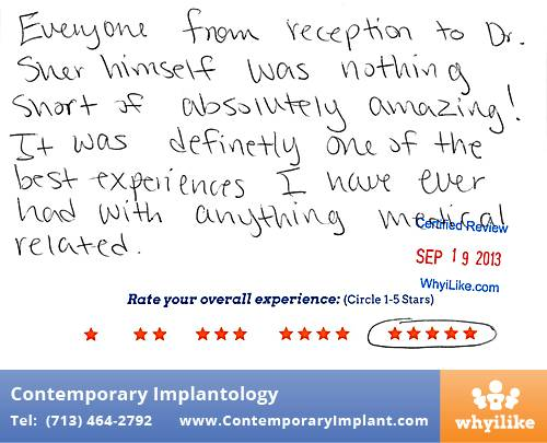 Contemporary Implant Review by Neelam P. in Houston, TX