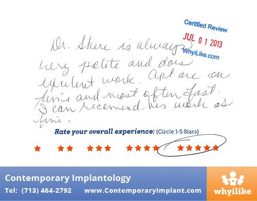 Contemporary Implant Patient Review by Su N in Houston, TX