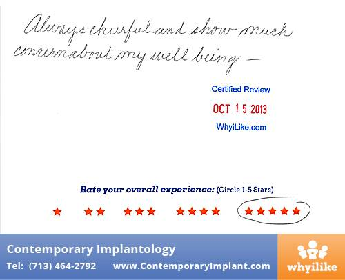 Contemporary Implant Review by Anita W. in Houston, TX