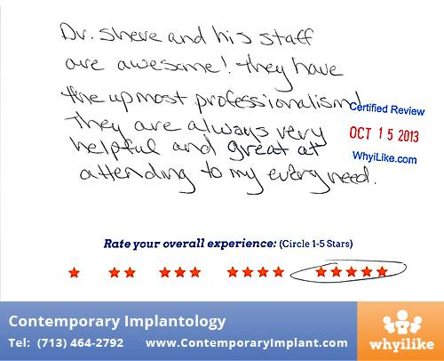 Contemporary Implant Review by Shauna S. in Houston, TX