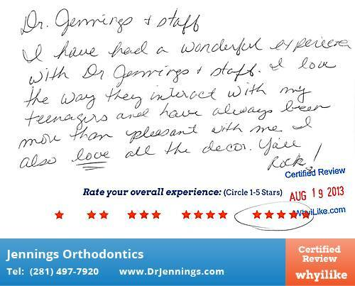 Jennings Orthodontics Review by Sheree C. in Houston, TX