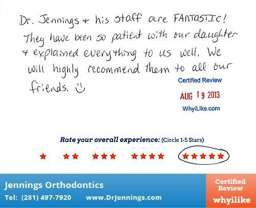 Jennings Orthodontics Review by Shylo U. in Houston, TX