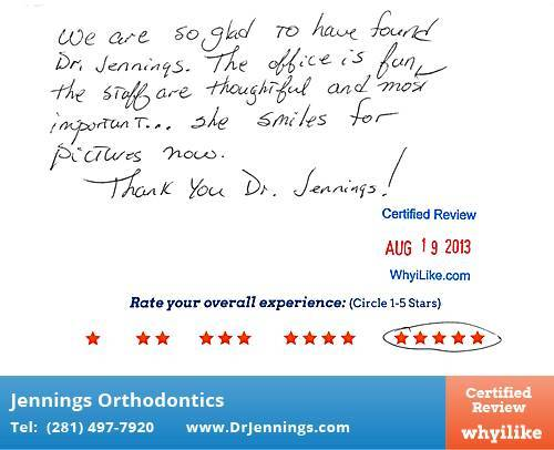 Jennings Orthodontics Review by Barbara M. in Houston, TX