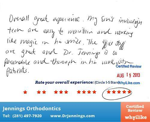 Jennings Orthodontics Review by Katherine M. in Houston, TX