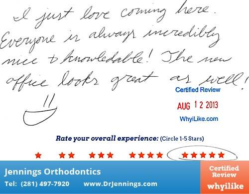 Dr. Jennings Orthodontics in Houston, TX Patient Review by Hannah Q