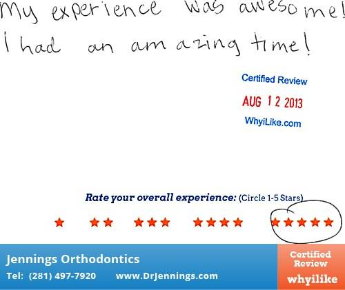 Dr. Jennings Orthodontics in Houston, TX Patient Review by Parker V