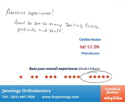 Jennings Orthodontics review by Olivis H. in Houston, TX on May 08, 2014