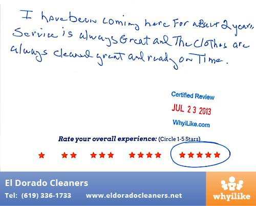 El Dorado Cleaners in National City, CA Customer Review by David M