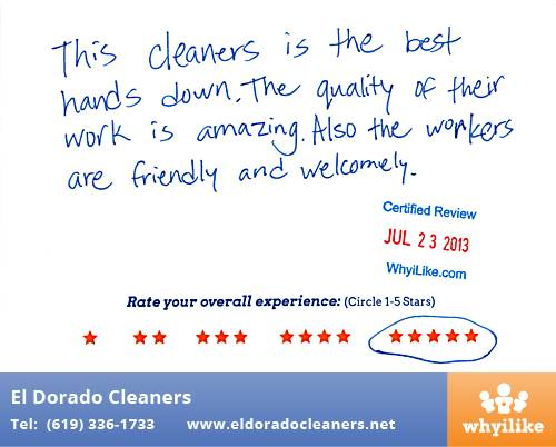 El Dorado Cleaners in National City, CA Customer Review by Erick P