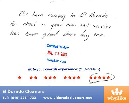 El Dorado Cleaners in National City, CA Customer Review by Felix M