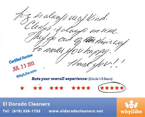 El Dorado Cleaners in National City, CA Customer Review by Fernando A