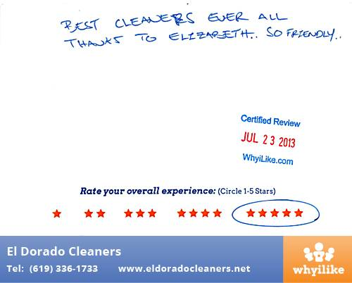 El Dorado Cleaners in National City, CA Customer Review by Gerardo C