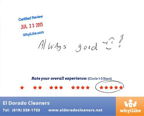 El Dorado Cleaners in National City, CA Customer Review by Joe H