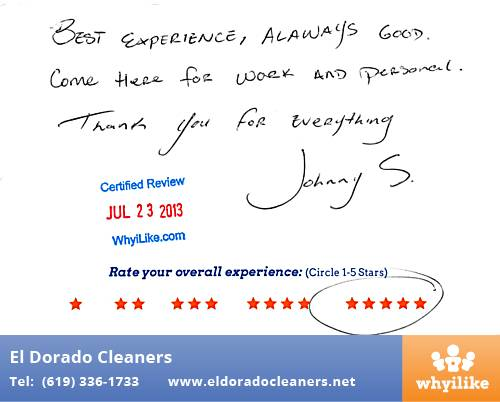 El Dorado Cleaners in National City, CA Customer Review by Johnny S