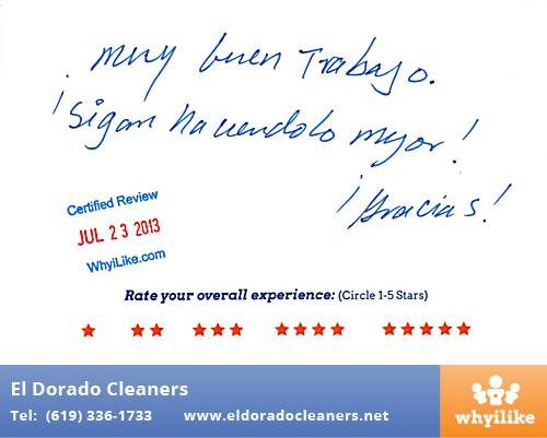 El Dorado Cleaners in National City, CA Customer Review by Jose C