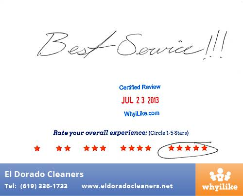 El Dorado Cleaners in National City, CA Customer Review by Monday J