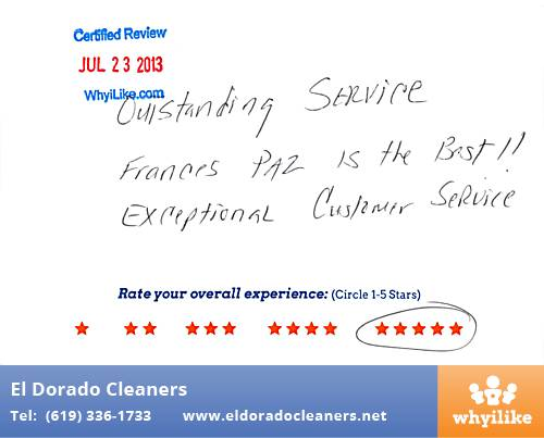 El Dorado Cleaners in National City, CA Customer Review by Oscar N