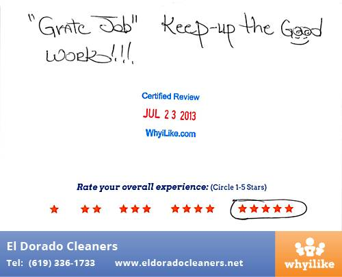 El Dorado Cleaners in National City, CA Customer Review by Paul H