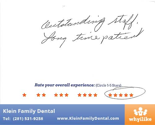 Klein Family Dental review by Sharron C. in Houston, TX on February 24, 2015