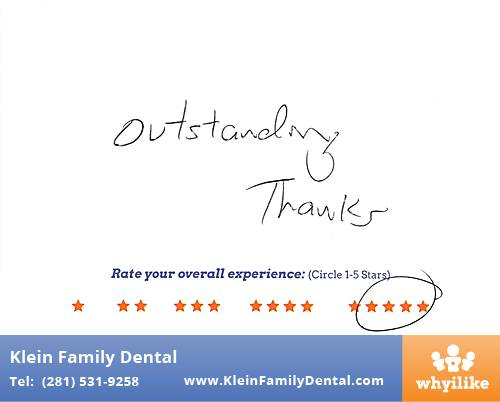Klein Family Dental review by Mike M. in Houston, TX on February 24, 2015