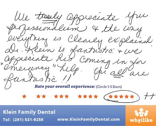 Klein Family Dental review by Basia H. in Houston, TX on February 24, 2015
