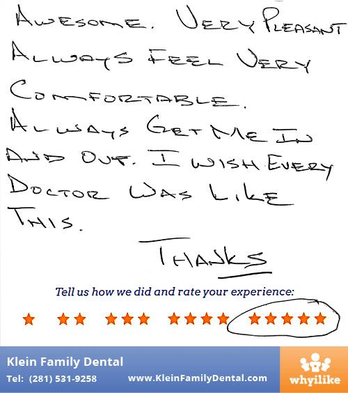 Klein Family Dental review by Jack V. in Houston, TX on May 28, 2015