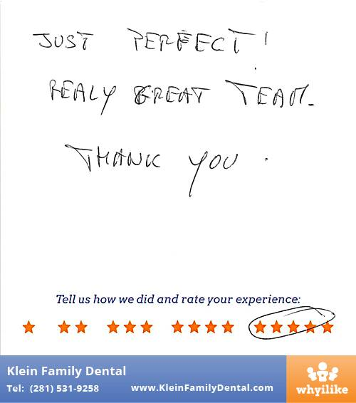 Klein Family Dental review by Gaelle G. in Houston, TX on May 28, 2015
