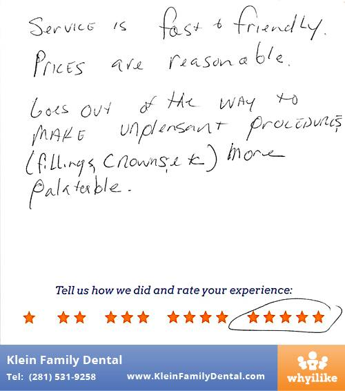 Klein Family Dental review by Alicia R. in Houston, TX on May 28, 2015