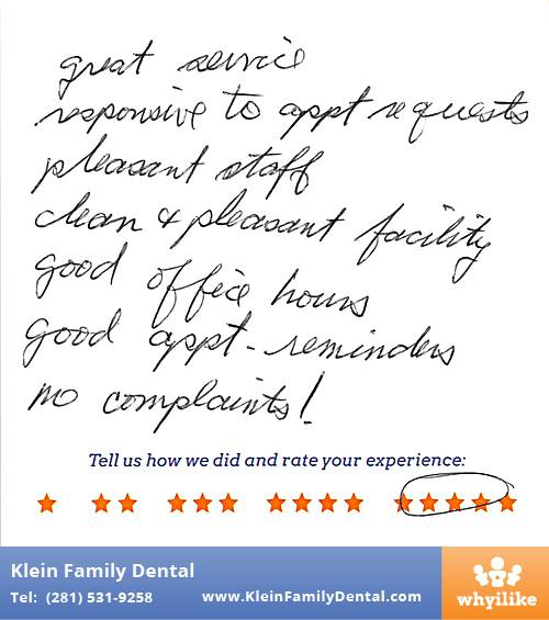 Klein Family Dental review by Randy J. in Houston, TX on May 28, 2015