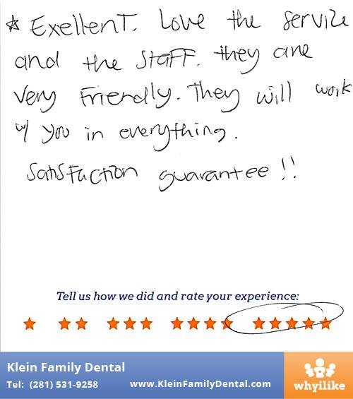 Klein Family Dental review by Fina M. in Houston, TX on May 28, 2015