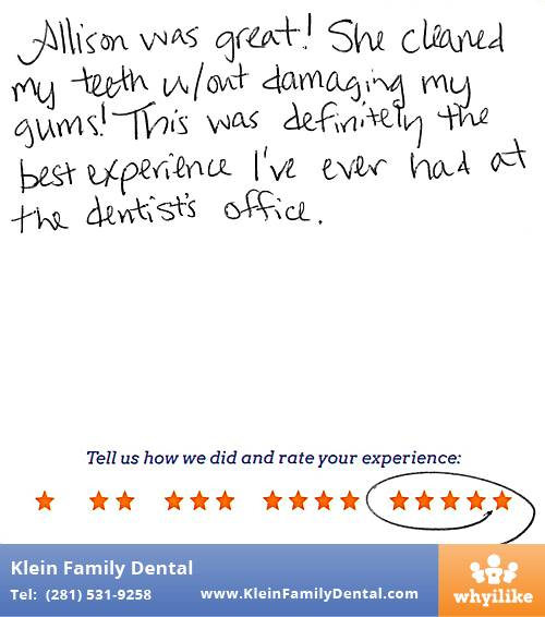 Klein Family Dental review by Melissa B. in Houston, TX on May 28, 2015