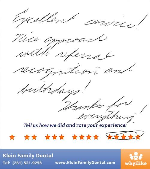 Klein Family Dental review by Clare B. in Houston, TX on May 28, 2015