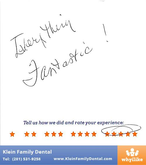 Klein Family Dental review by Doreen K. in Houston, TX on May 28, 2015