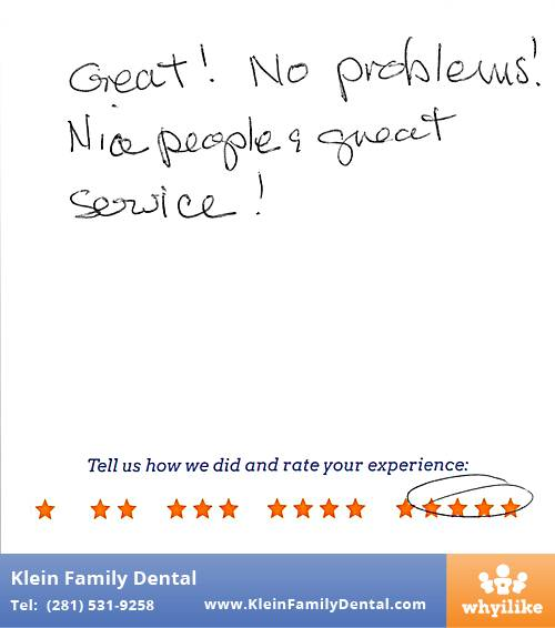 Klein Family Dental review by Suzanne S. in Houston, TX on May 28, 2015