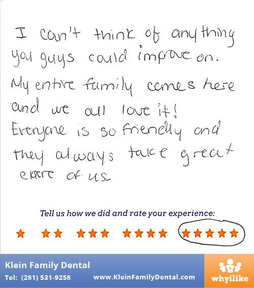 Klein Family Dental review by Gabriela A. in Houston, TX on May 28, 2015