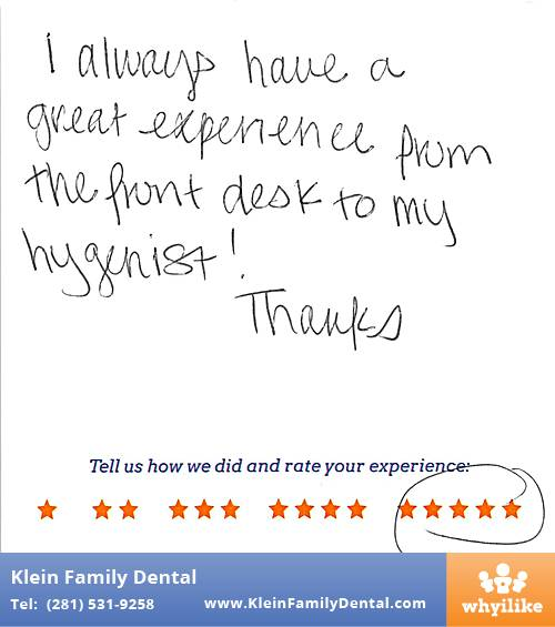 Klein Family Dental review by Sara M. in Houston, TX on May 28, 2015