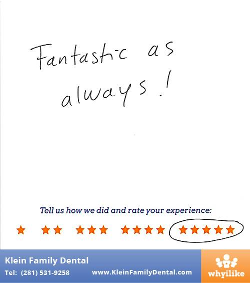 Klein Family Dental review by Maria F. in Houston, TX on May 28, 2015