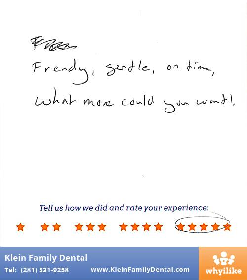 Klein Family Dental review by Chris T. in Houston, TX on May 28, 2015