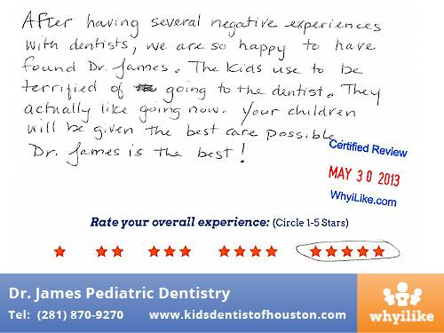 Dr. Laji James Pediatric Dentistry Houston TX Patient Review by Sandra C
