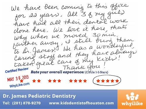Dr. Laji James Pediatric Dentistry Houston TX Patient Review by Becky P