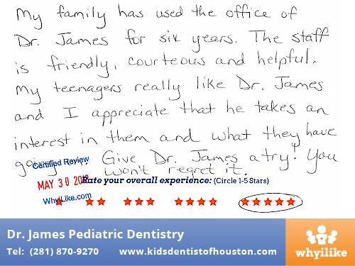 Dr. Laji James Pediatric Dentistry Houston, TX patient review by Donna B