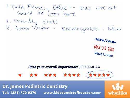 Dr. Laji James Pediatric Dentist Houston, TX Patient Review by Lan D