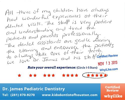 Dr. Laji James Pediatric Dentistry review by Linda W. in Houston, TX
