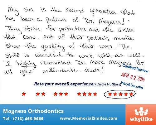 Magness Orthodontics review by Heather P. in Houston, TX on April 02, 2014