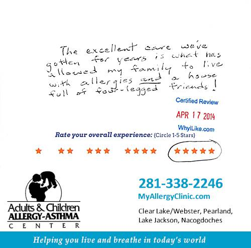 Adult & Children Allergy-Asthma Center review by Gary R. in Clear Lake, TX on April 17, 2014