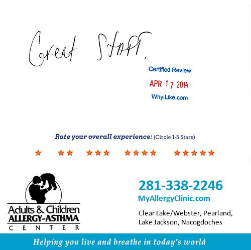 Adult & Children Allergy-Asthma Center review by Corey W. in Clear Lake, TX on April 17, 2014