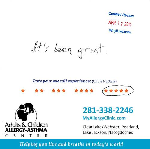 Adult & Children Allergy-Asthma Center review by Mike M. in Clear Lake, TX on April 17, 2014