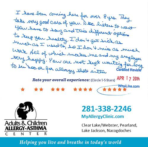 Adult & Children Allergy-Asthma Center review by Angela B. in Clear Lake, TX on April 17, 2014
